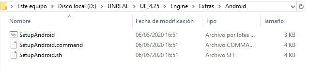 Directorio de Unreal Engine para instalar Android Studio