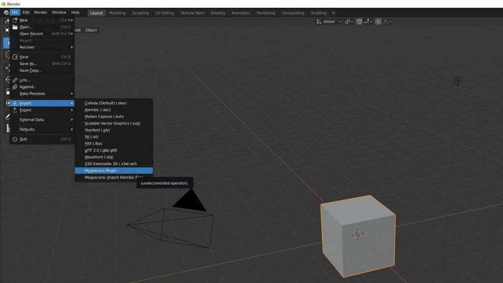 Activa el script de Quixel a Blender
