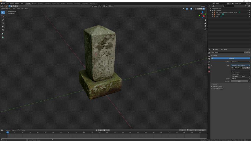 El modelo ya exportado de Quixel a Blender