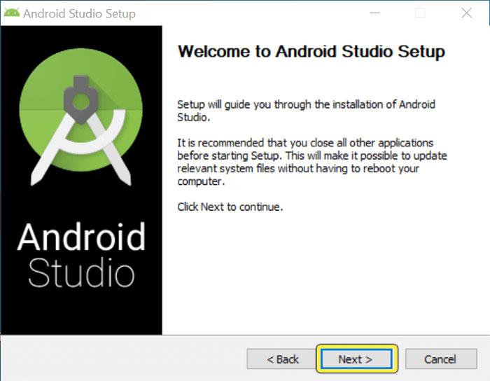 Ventana de instalación de Android Studio