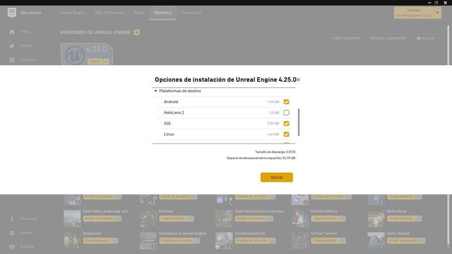 Opciones de instalación de Unreal Engine